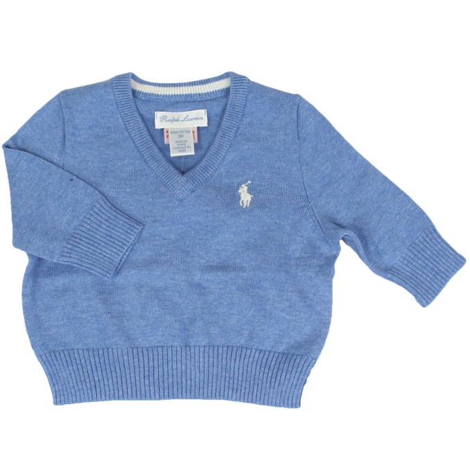 Cotton pullover with V-neck Light blue Polo Ralph Lauren