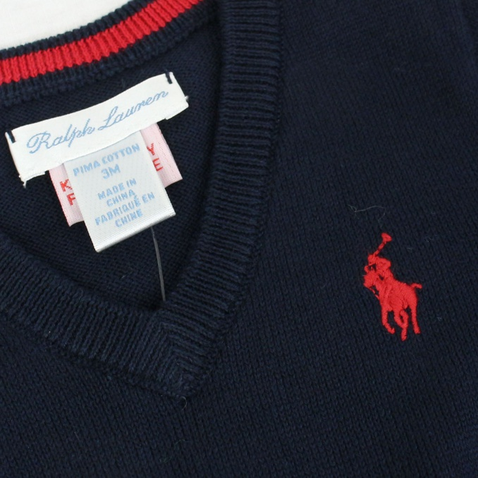 Cotton pullover with V-neck Blue Polo Ralph Lauren