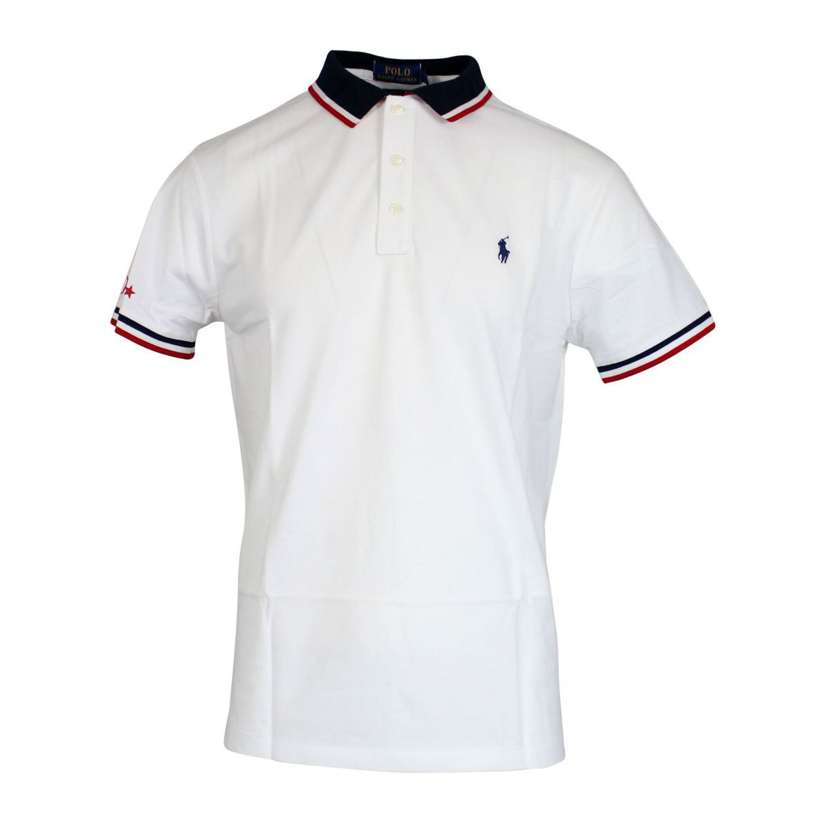 Polo slim-fit in cotone con collo a contrasto Bianco Polo Ralph Lauren