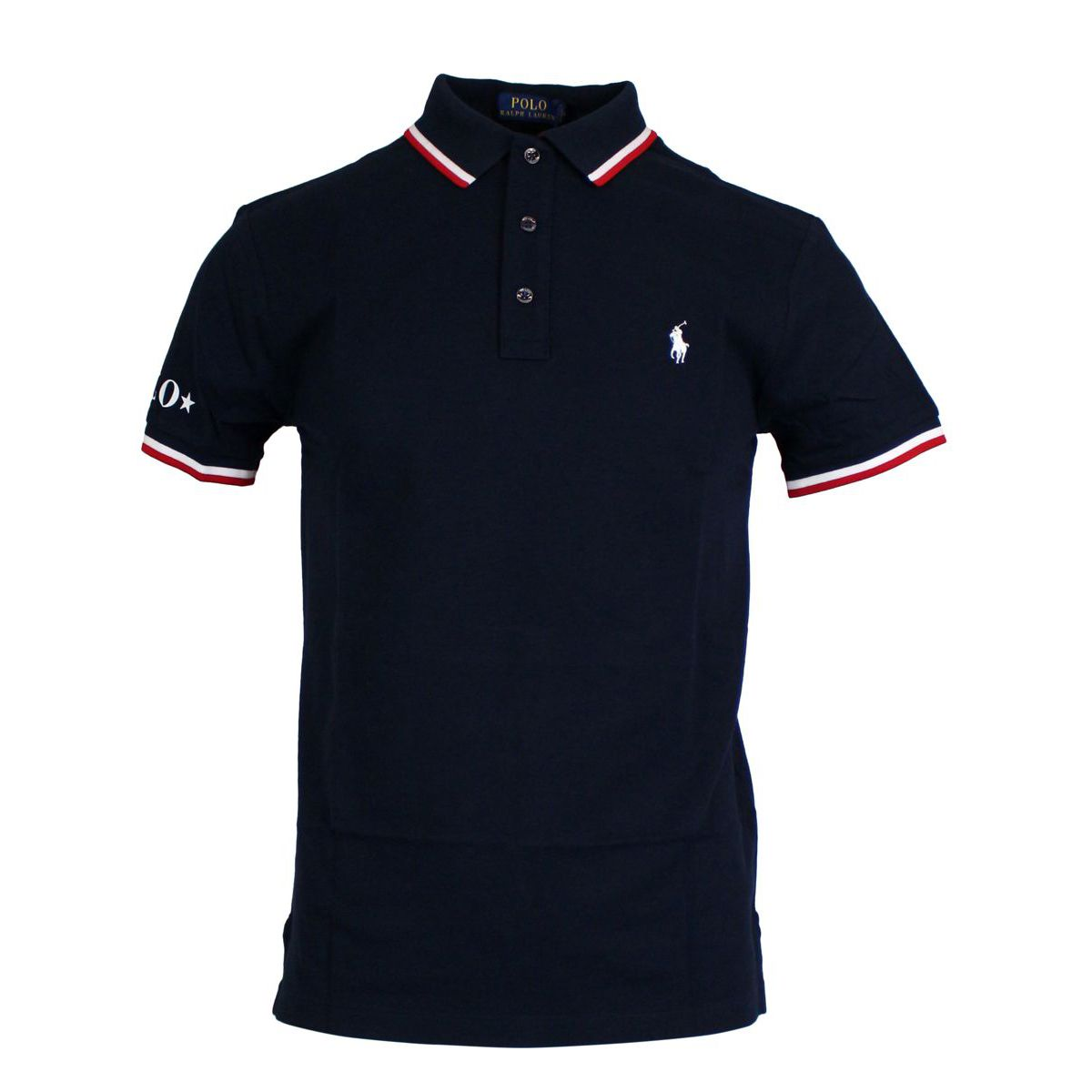 Polo slim-fit in cotone con collo a contrasto Blu Polo Ralph Lauren