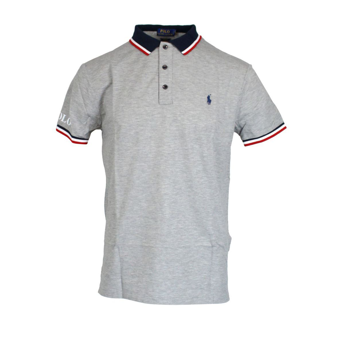 Polo slim-fit in cotone con collo a contrasto Grigio Polo Ralph Lauren