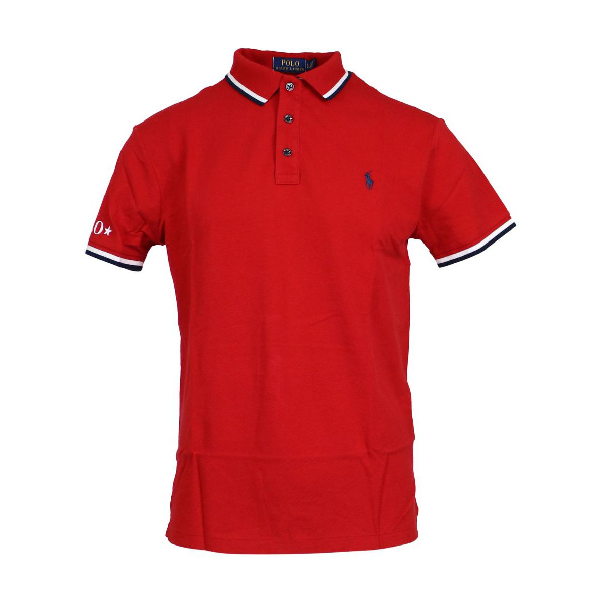 Slim-fit polo shirt in cotton with contrasting collar Red Polo Ralph Lauren