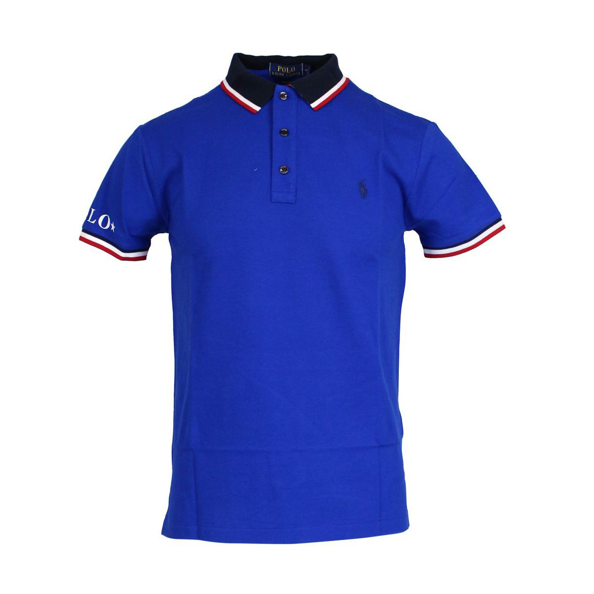 Polo slim-fit in cotone con collo a contrasto Zaffiro Polo Ralph Lauren