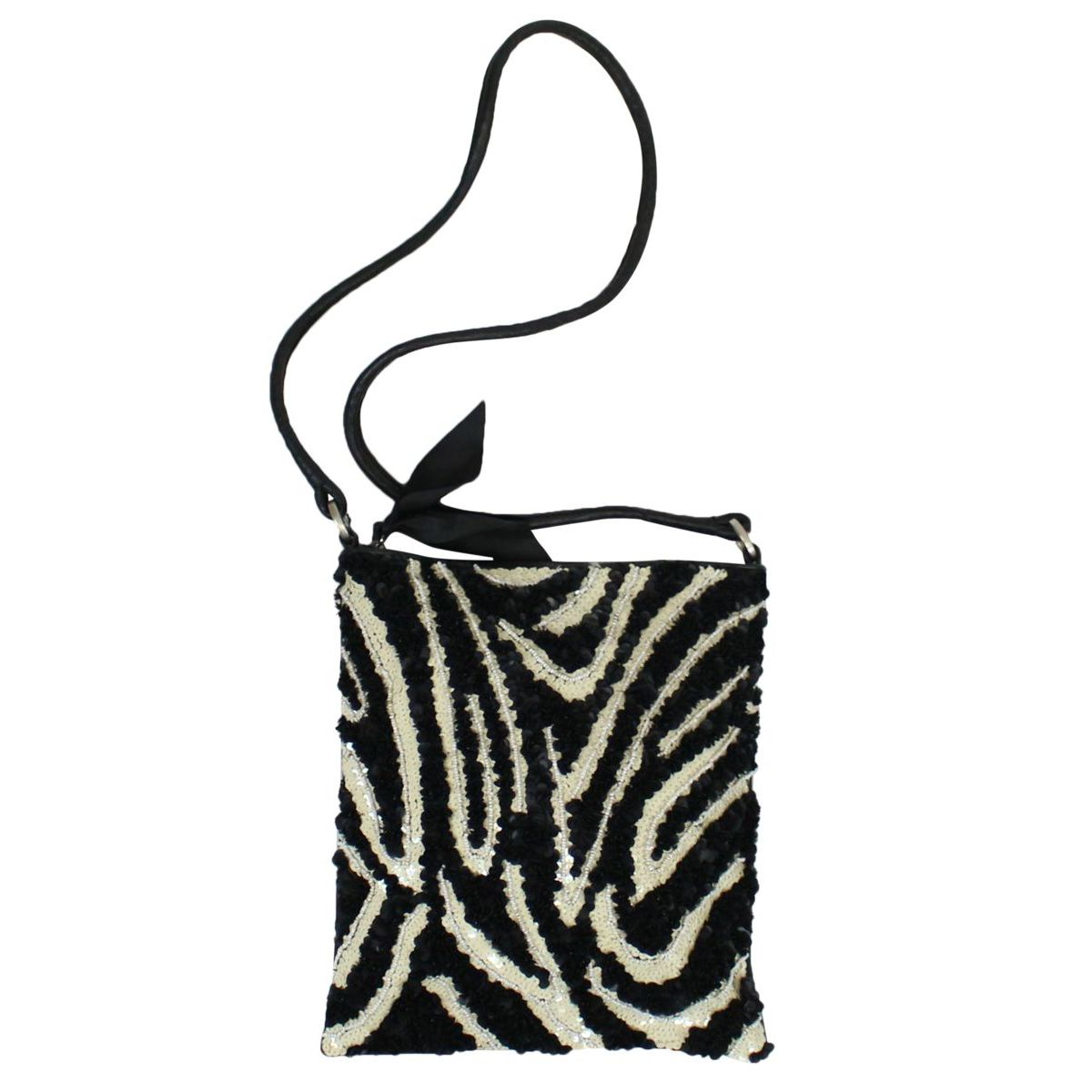 Shoulder strap with animalier micro beads Black white Maliparmi
