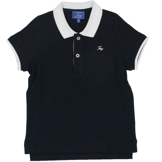 Pique cotton polo shirt with contrast collar Blue Fay