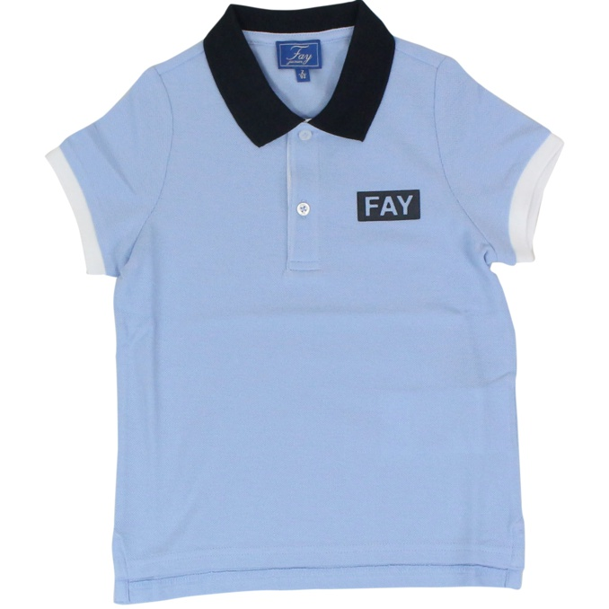 Pique cotton polo shirt with contrast collar Heavenly Fay