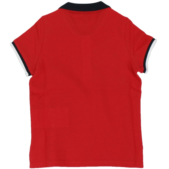 Pique cotton polo shirt with contrast collar Red Fay