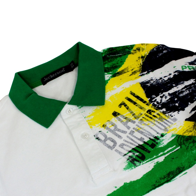 Polo with Brazil Adventure print White Jeckerson