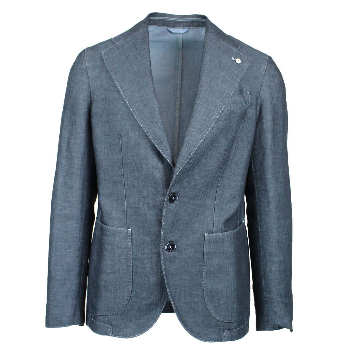 Single-breasted jacket in linen blend Blue L.B.M. 1911