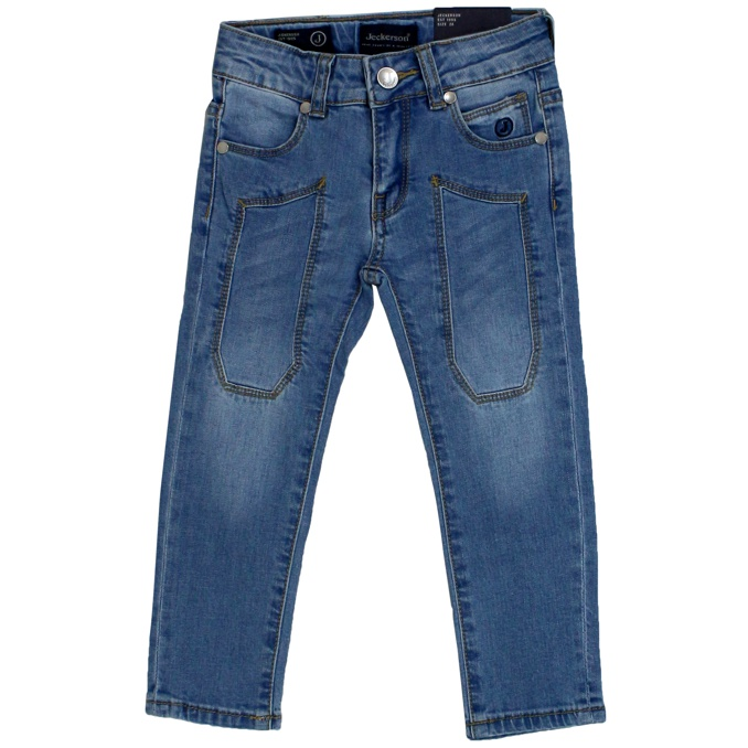 Stretch denim jeans with patches Light denim Jeckerson