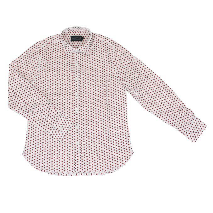 Micro polka dot print shirt White red Jeckerson