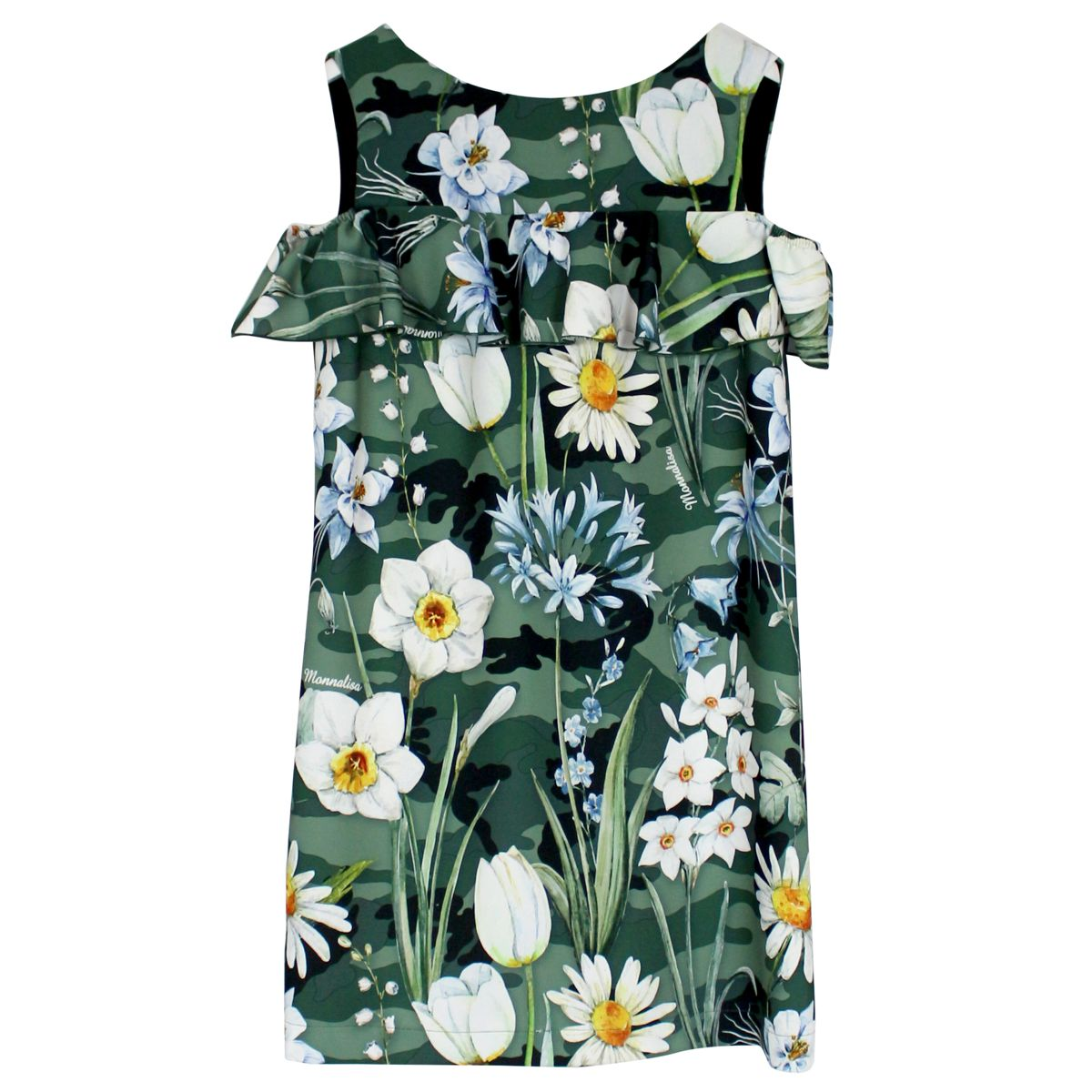 Camouflage dress with floral print Camouflage MONNALISA