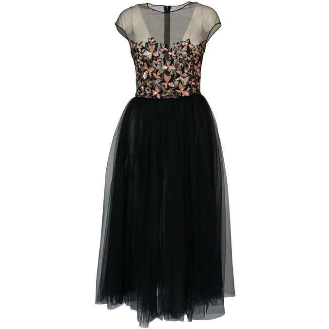 Tulle dress with stars print Black Elisabetta Franchi