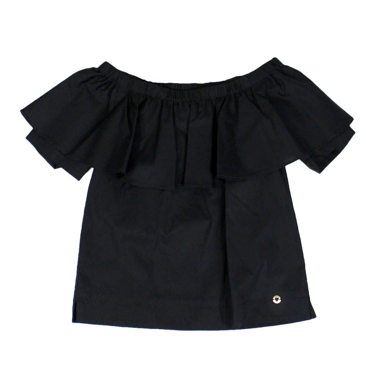 Boat top with flounce Black Twin-Set