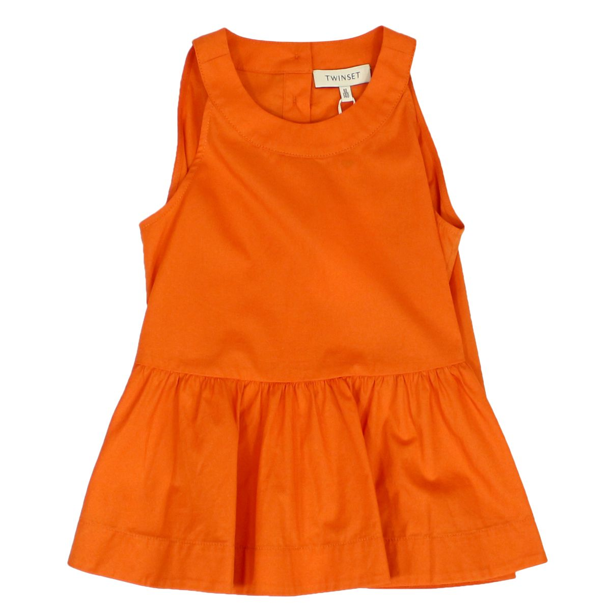 Top with flounces on the bottom Orange Twin-Set