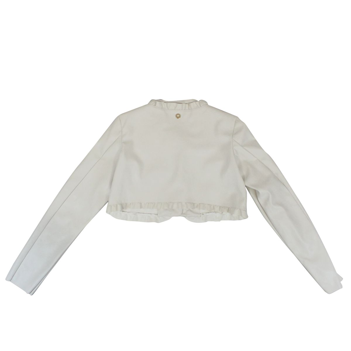 Cropped jacket in leatherette with rouches Cream Twin-Set