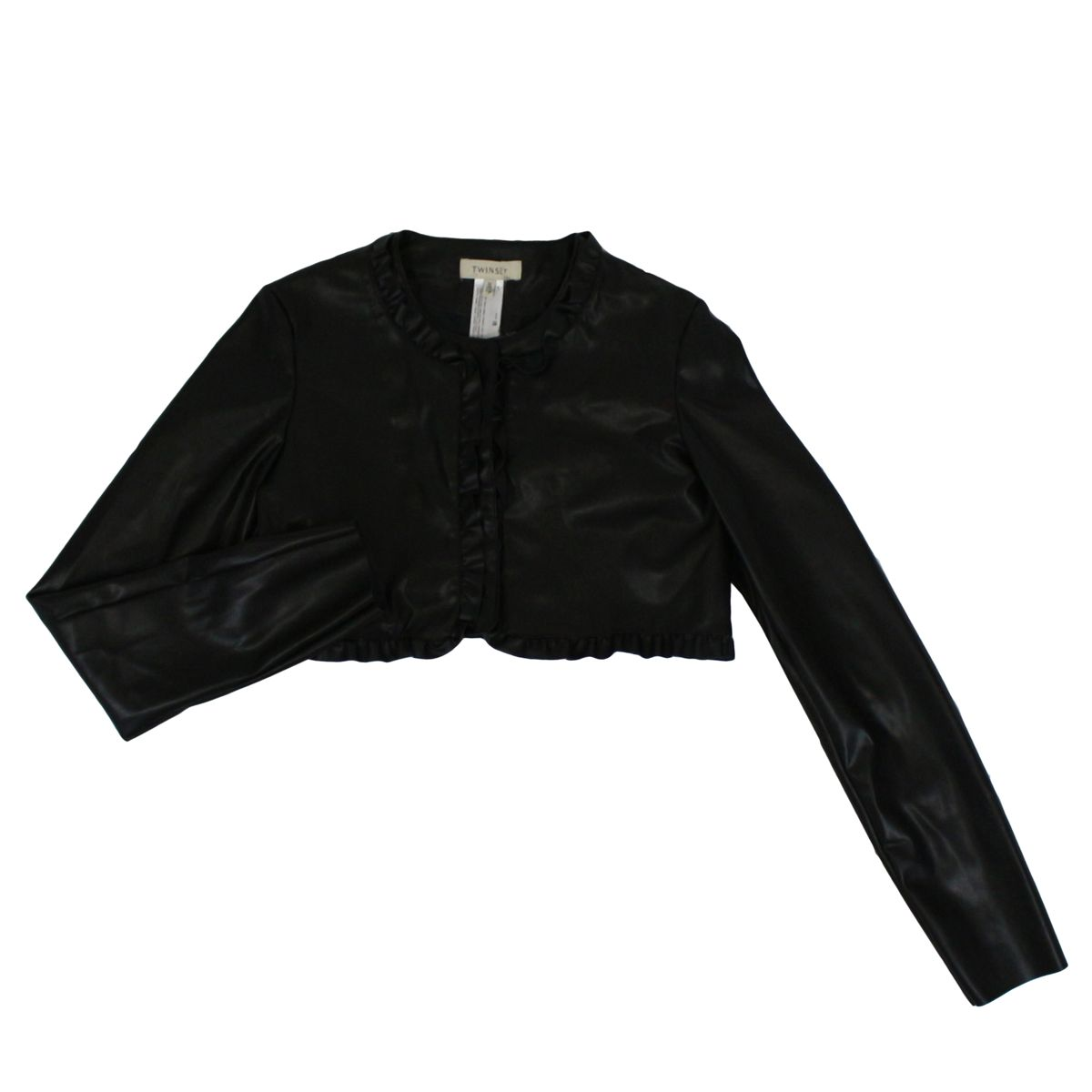 Cropped jacket in leatherette with rouches Black Twin-Set