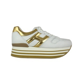 H283 maxi platform leather sneakers White / gold Hogan