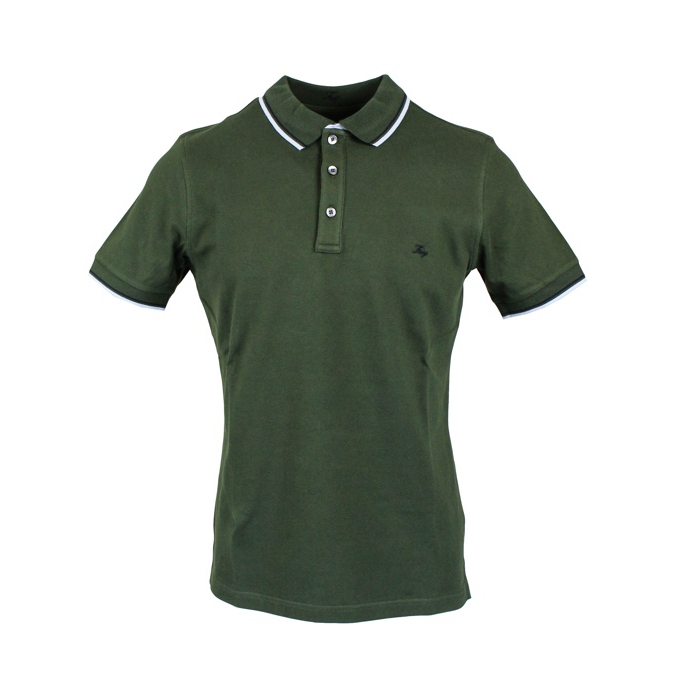 Stretch cotton pique polo Olive Fay