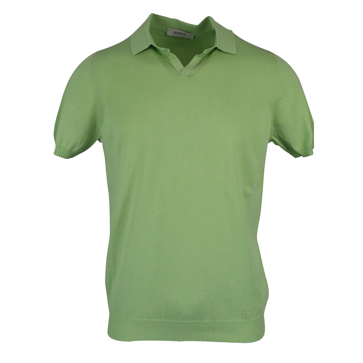 Cotton polo shirt with ribbed edges Green ALPHA STUDIO