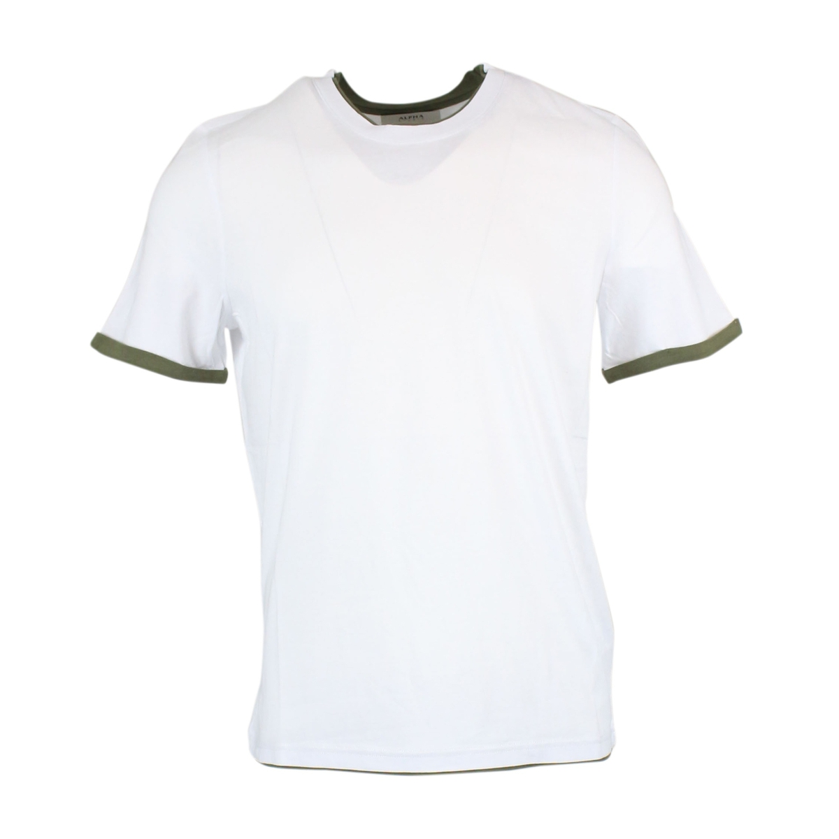 T-shirt with contrasting border White ALPHA STUDIO