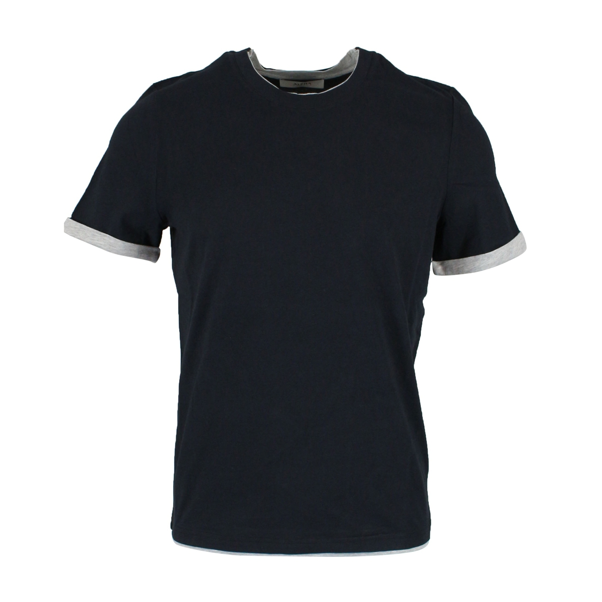 T-shirt with contrasting border Navy ALPHA STUDIO