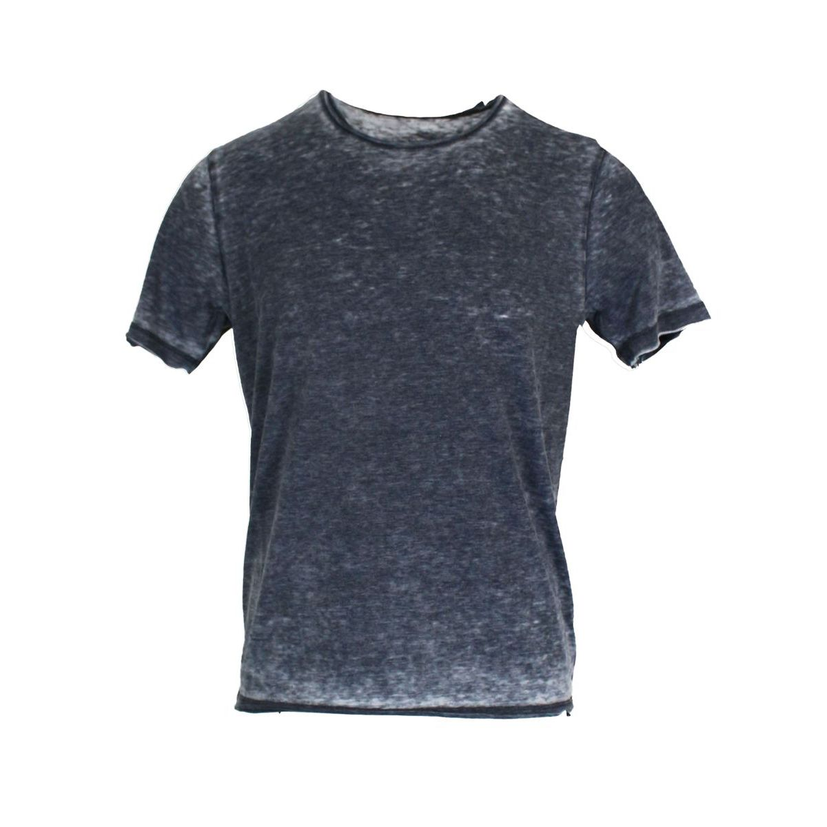 Cotton blend crew neck T-shirt Navy ALPHA STUDIO