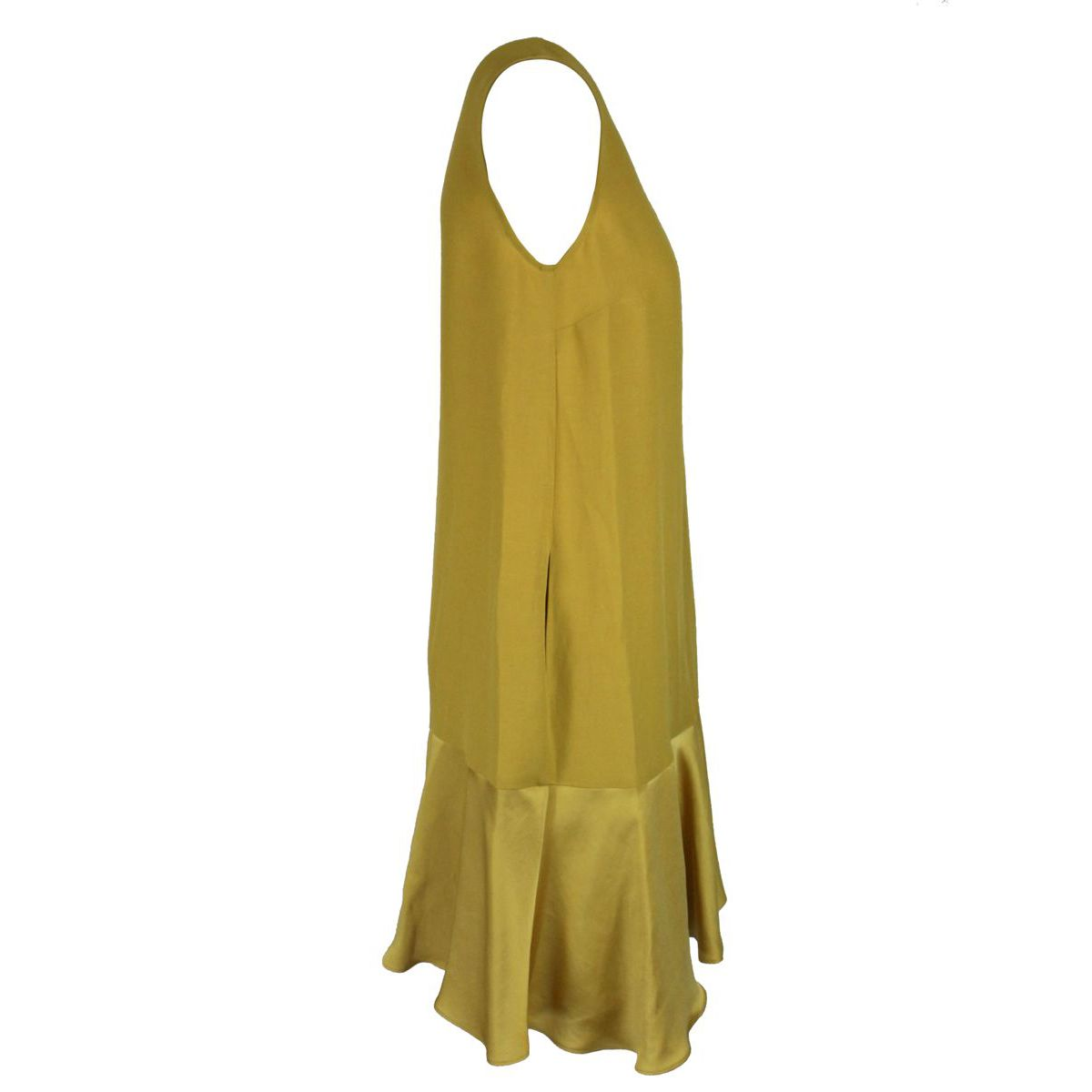 Linen and viscose dress with flounce Mustard Twin-Set