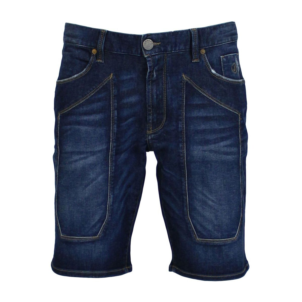 Bermuda shorts in jeans with patches Dark denim Jeckerson