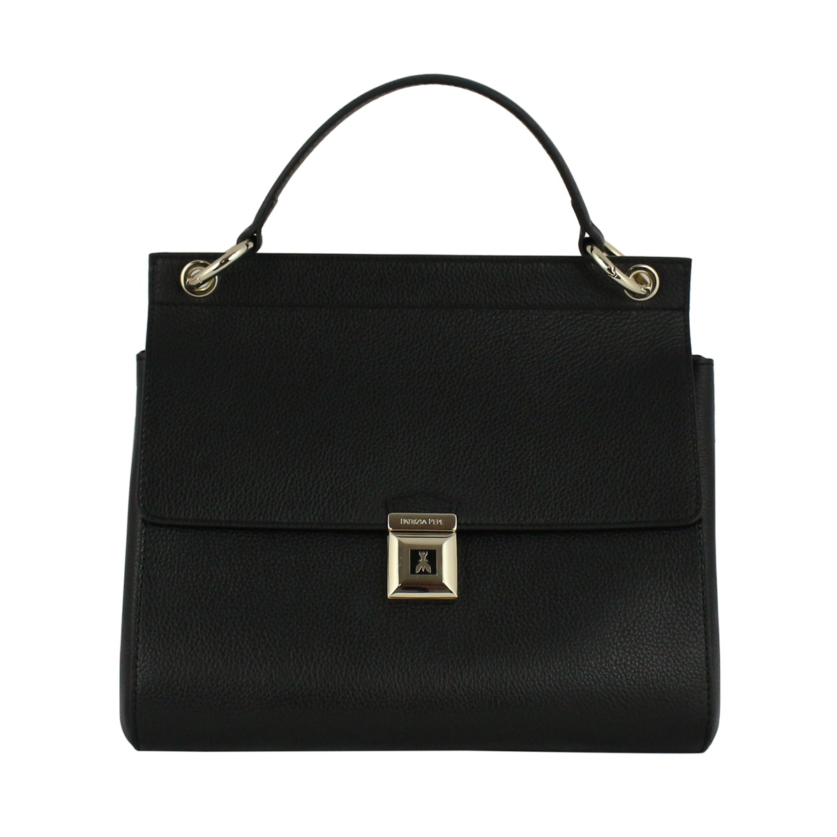 Handbag in hammered leather Black Patrizia Pepe