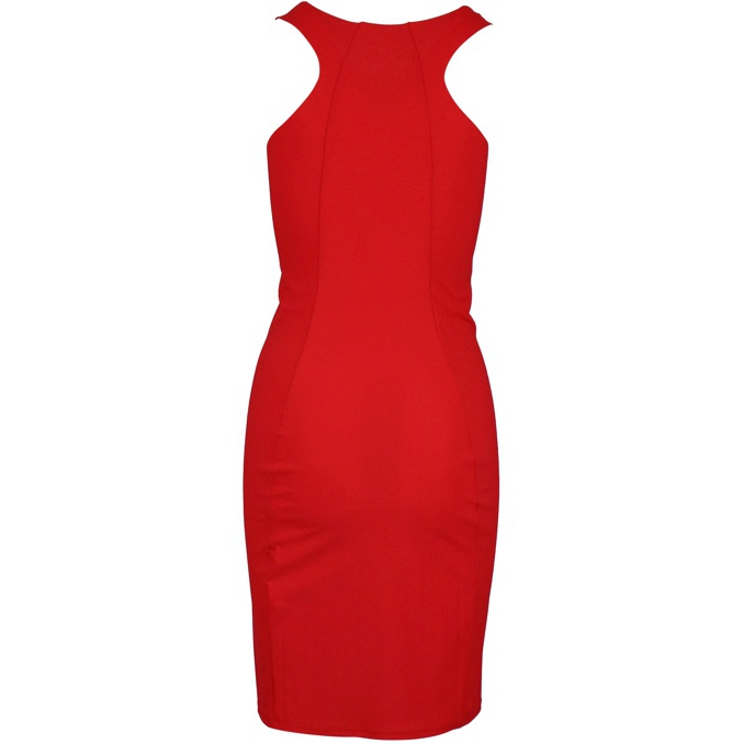 Slim round neck sheath dress Red Patrizia Pepe
