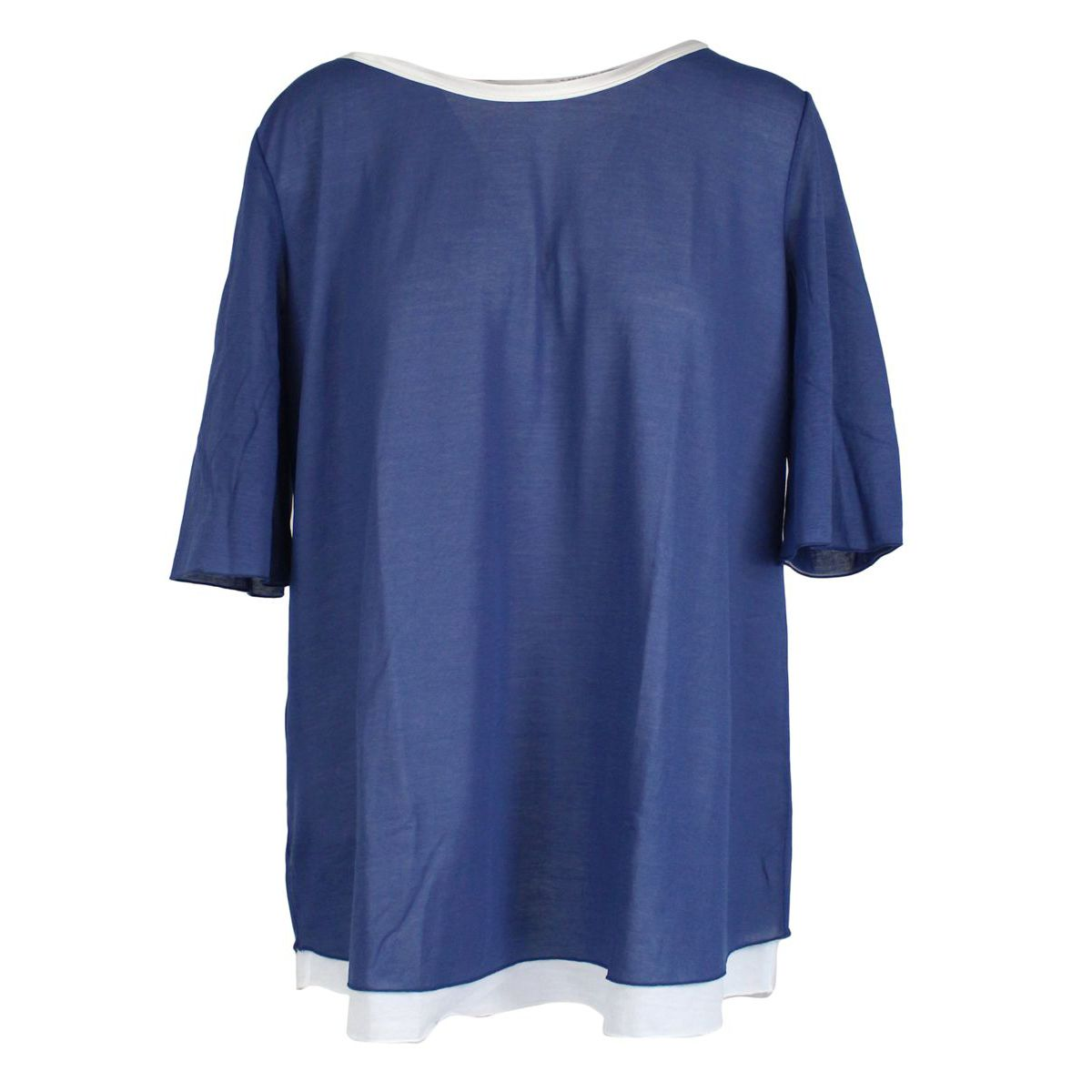 Two-tone crew-neck sweater in cotton blend Bluette GRAN SASSO