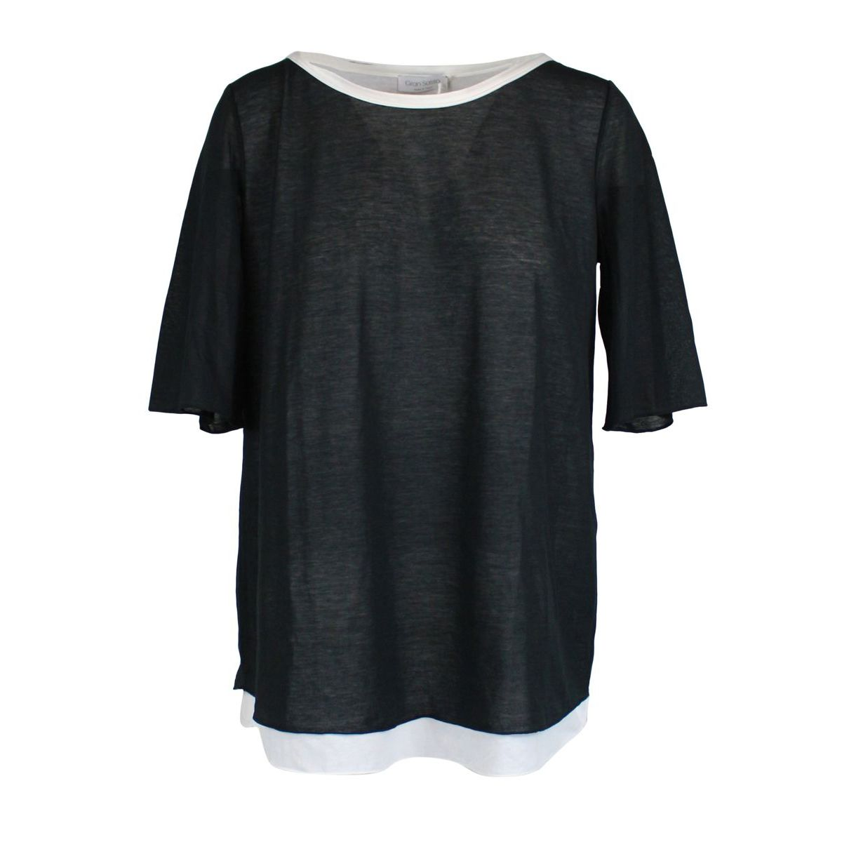 Two-tone crew-neck sweater in cotton blend Black GRAN SASSO