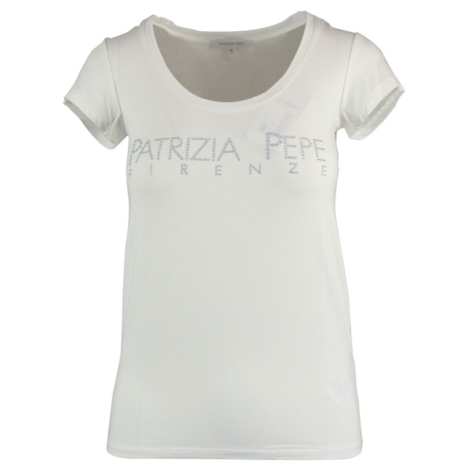 Crew-neck t-shirt with logo White Patrizia Pepe