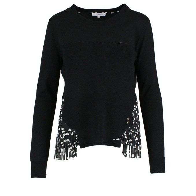 Sweater with polka dot fringe insert Black / polka dots Patrizia Pepe