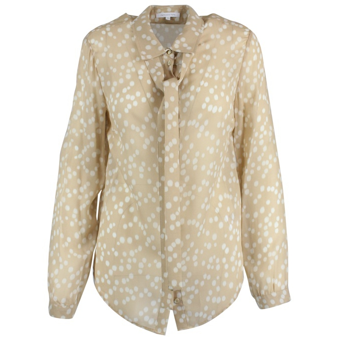 Silk shirt with circular prints Beige / white Patrizia Pepe