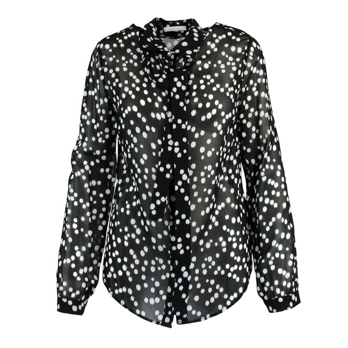 Silk shirt with circular prints Black white Patrizia Pepe