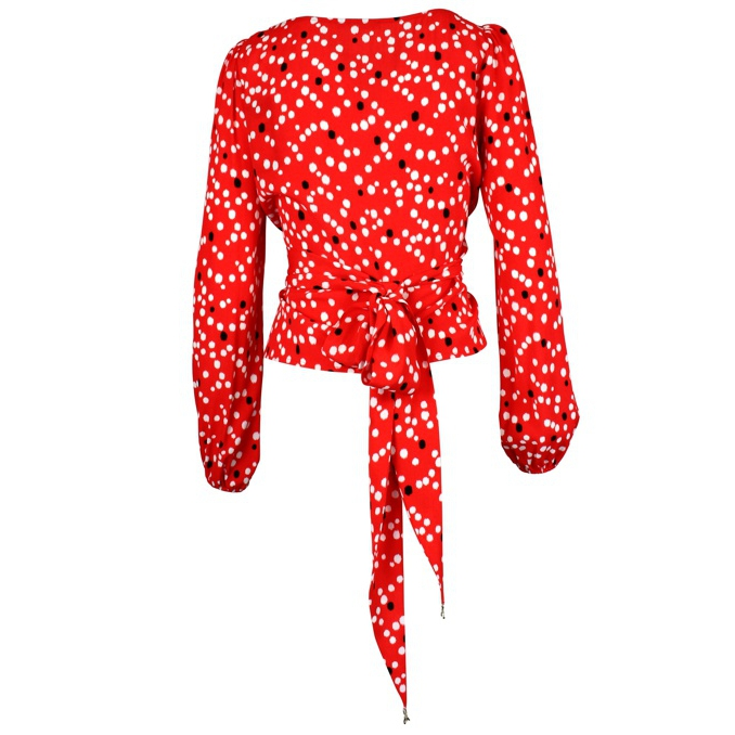 Polka dot sweater with belt Red Patrizia Pepe