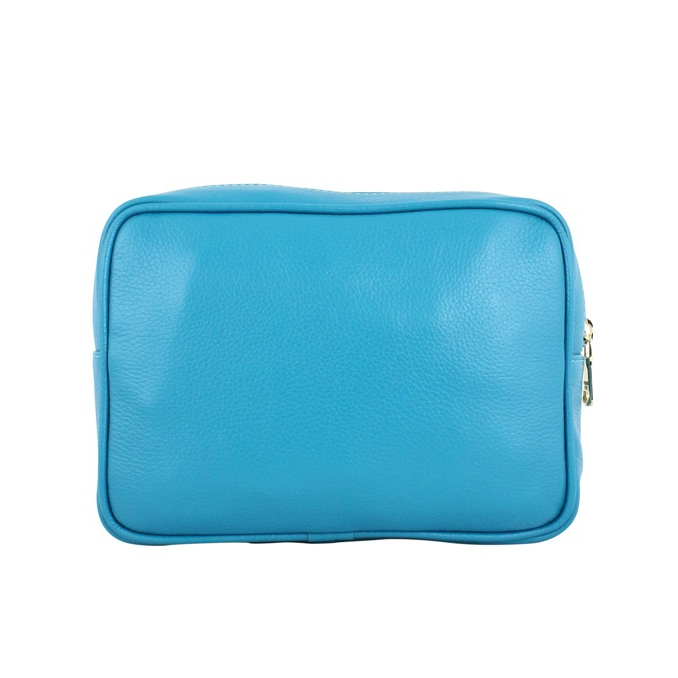 Beauty case in calfskin Turquoise Patrizia Pepe