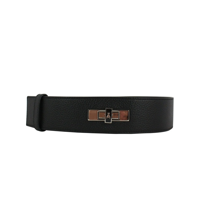 Hammered leather belt with logo Black Patrizia Pepe