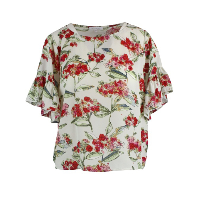 Wide sleeve shirt with floral print White Patrizia Pepe