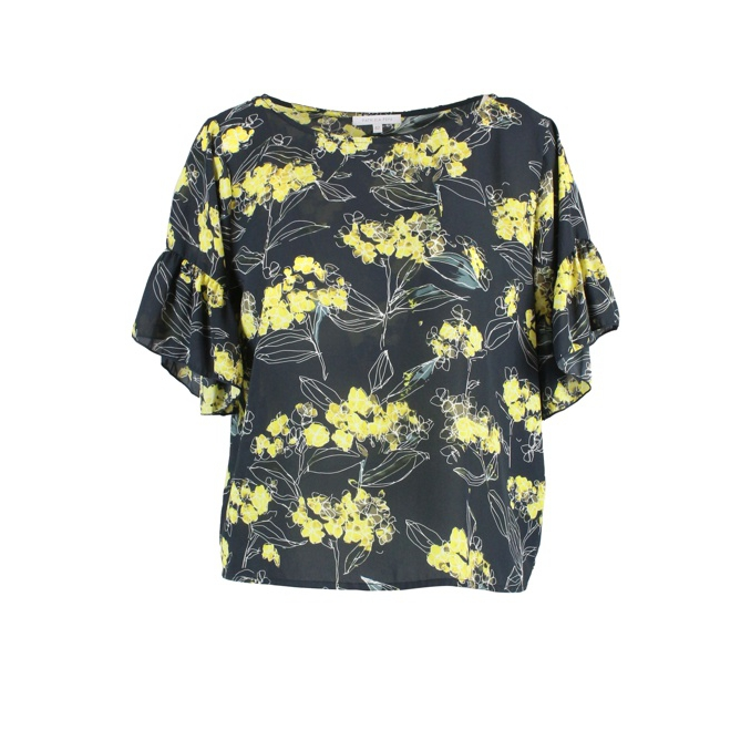 Wide sleeve shirt with floral print Black Patrizia Pepe