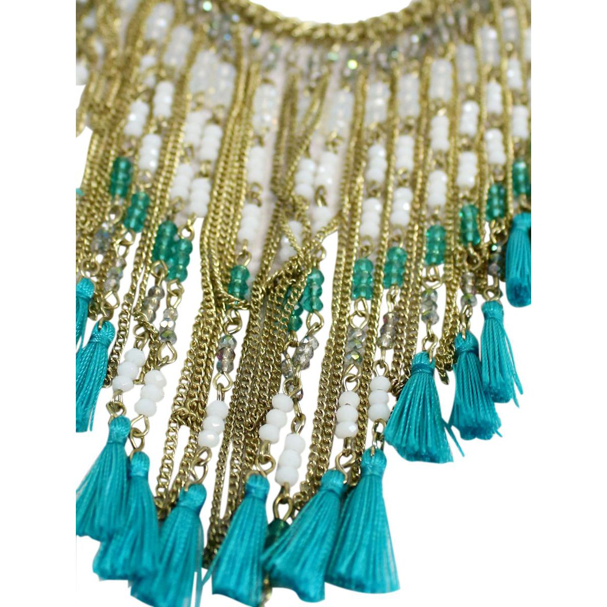 Metal necklace with beaded fringes Light blue Twin-Set