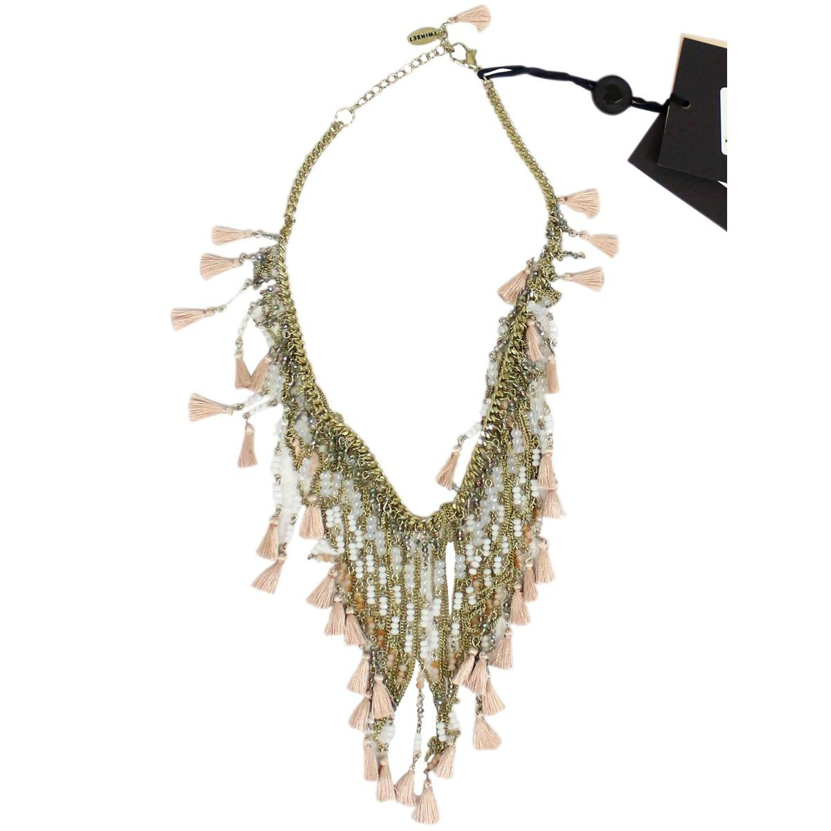 Metal necklace with beaded fringes Powder pink Twin-Set