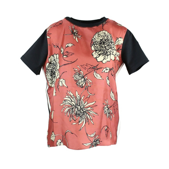 Silk T-shirt with floral print Brick Moncler