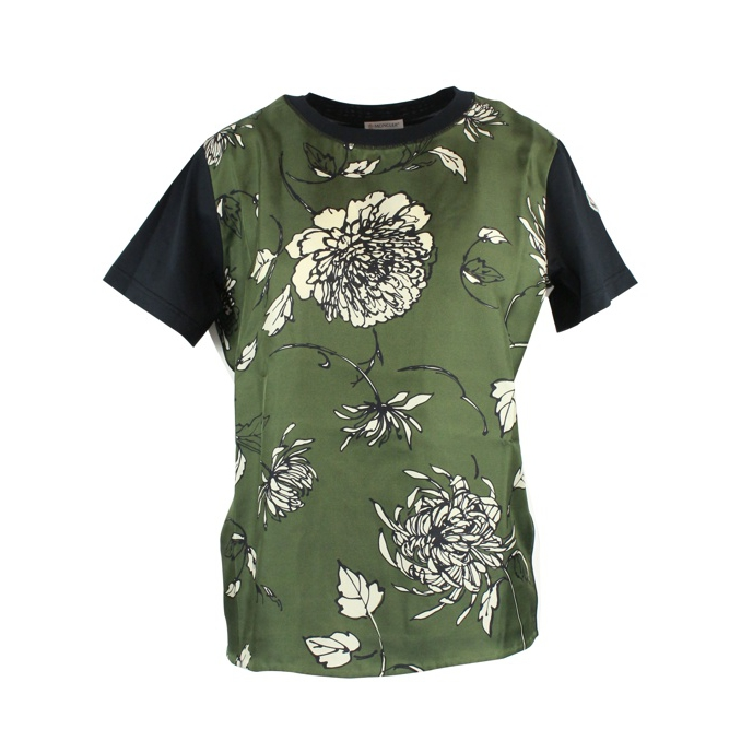 Silk T-shirt with floral print Dark green Moncler
