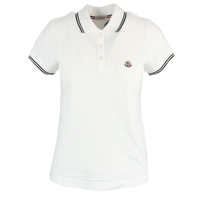 Short sleeve polo shirt with logo White Moncler