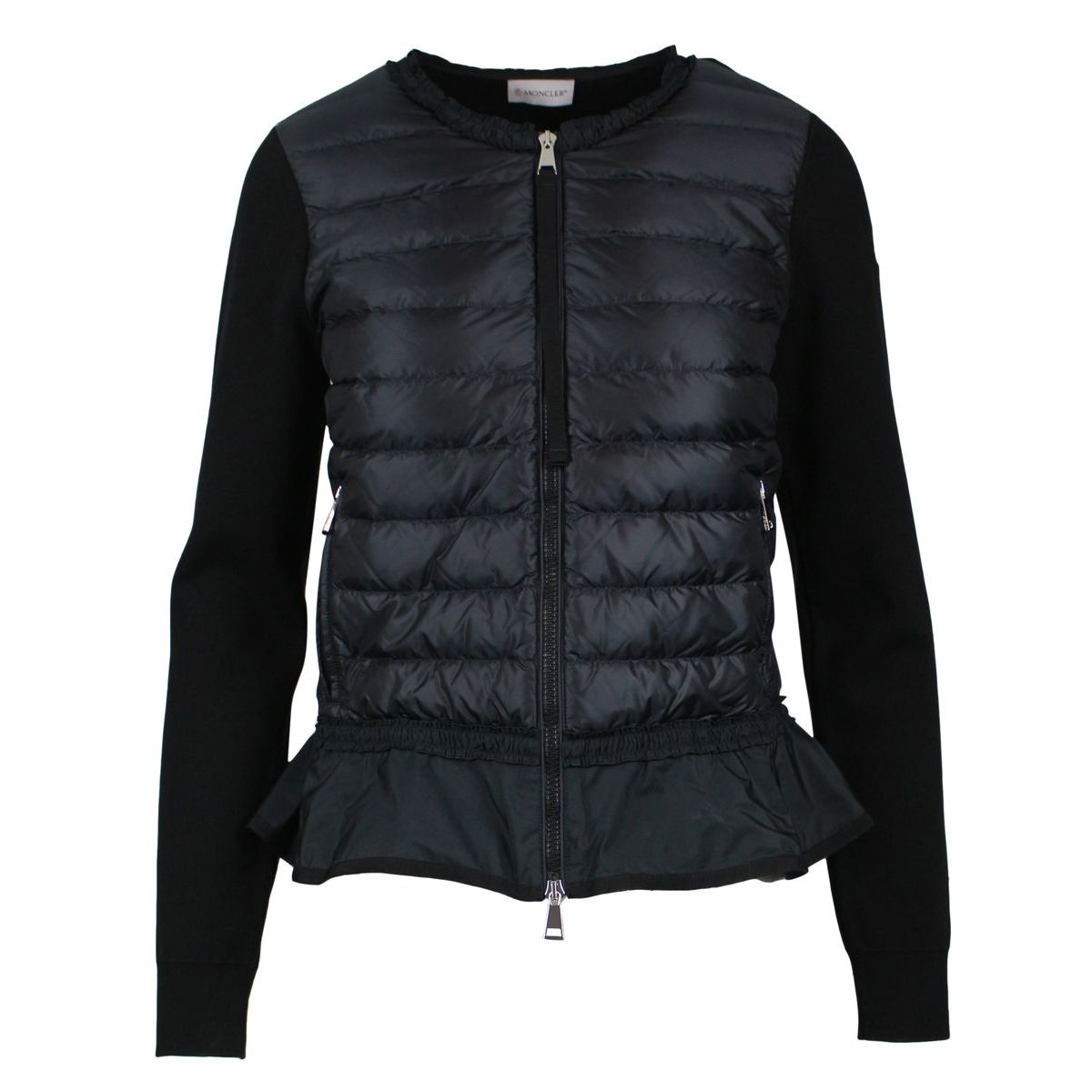Korean Tricot sweater with flounce Black Moncler