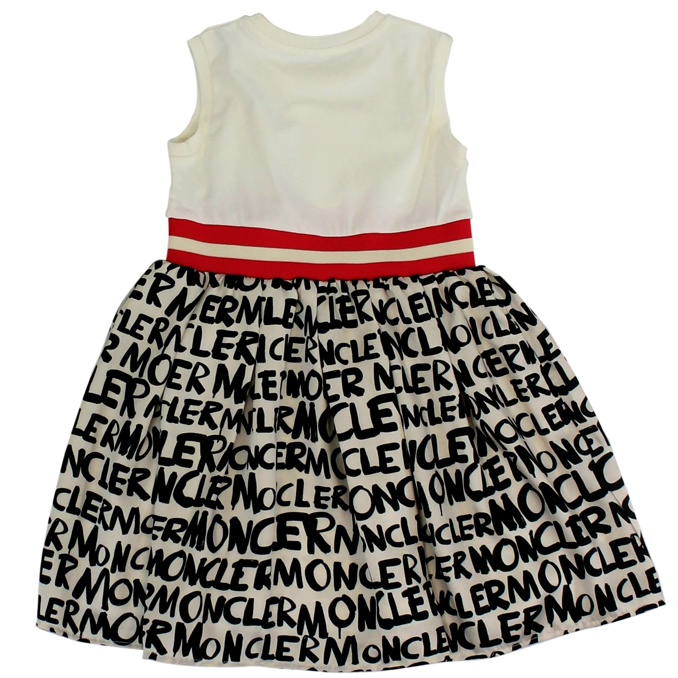 Sleeveless dress with band and print Cream Moncler