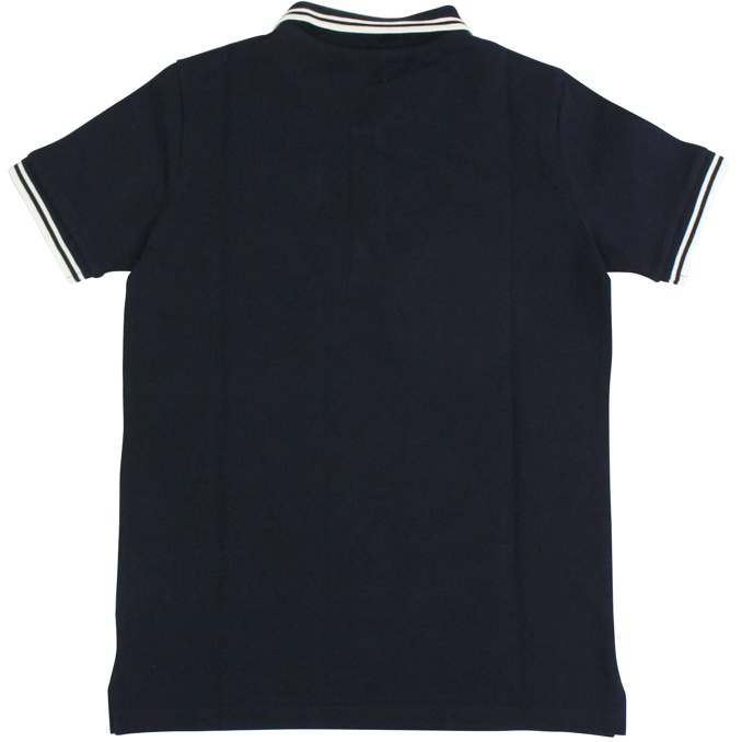 Three-button polo shirt with striped edges Night blue Moncler